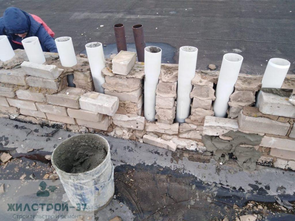 Реставрация вентиляционных шахт,штукатурка и кладка кирпича